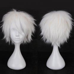 Multicolor Short Side Bang Fluffy Straight Cosplay Synthetic Wig - WHITE