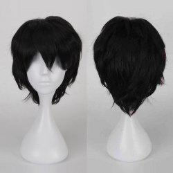 Multicolor Short Side Bang Fluffy Straight Cosplay Synthetic Wig - BLACK