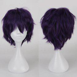 Multicolor Short Side Bang Fluffy Straight Cosplay Synthetic Wig - BLACK PURPLE