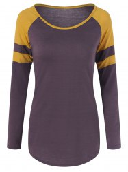 Two Tone Raglan Sleeve Slim Tee -