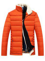 Slim Fit Wool Stand Collar Quilted Jacket -