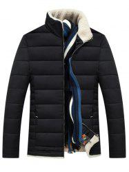 Slim Fit Wool Stand Collar Quilted Jacket
