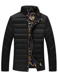 Stand Collar Zipper Button Quilted Jacket -