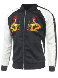 Raglan Sleeve Dragon Embroidery Sukajan Jacket - BLACK