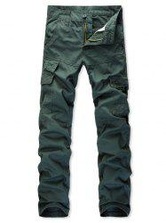 Multi Pockets Zip Fly Straight Cargo Pants -