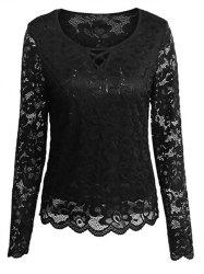 Cutout Long Sleeve Lace Blouse -