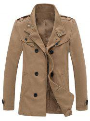 Zippered Epaulet Design Stand Collar Pea Coat