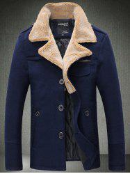 Epaulet Design Quilted Lining Pocket Woolen Jacket - CADETBLUE