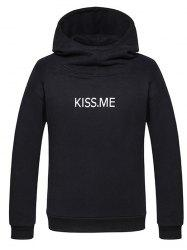 Kiss Me Printed Funnel Neck Pullover Hoodie -