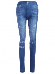 Slim Ripped Imitation Jean Leggings - BLUE ONE SIZE
