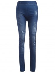 Slim Imitation Jean Ripped Leggings