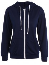 Active Drawstring Zipper Up Hoodie