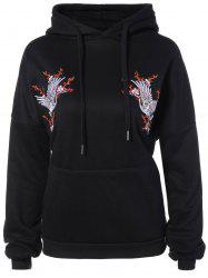 Drawstring Animal Embroidered Hoodie -