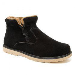 Suede Double Zips Ankle Boots - BLACK