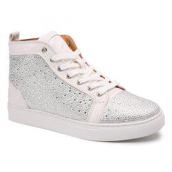 Bottines casual en strass à lacets - Blanc