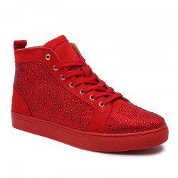 Casual Rhinestone Lace Up Short Boots - RED
