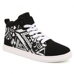 Lace Up Suede Spliced Geometric Print Boots - WHITE AND BLACK