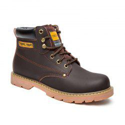 Eyelet Stitching Leather Work Boots - DEEP BROWN 43
