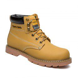 Eyelet Stitching Leather Work Boots - YELLOW