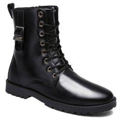 Eyelet Buckle Strap PU Leather Combat Boots - BLACK