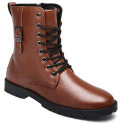 Eyelet Buckle Strap PU Leather Combat Boots -