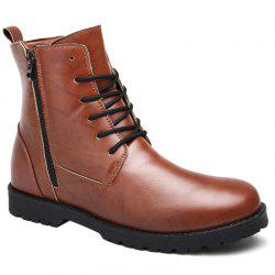 PU Leather Lace Up Combat Boots -