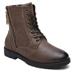 PU Leather Eyelet Side Zip Combat Boots - DEEP BROWN