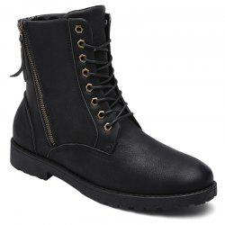 PU Leather Eyelet Side Zip Combat Boots - BLACK 40