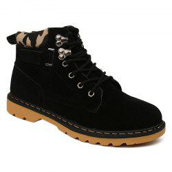 Metal Eyelet Lace Up Suede Short Boots - BLACK