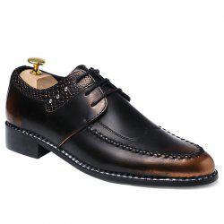 PU Leather Embossed Panel Formal Shoes - BROWN 41