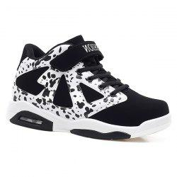 Colour Block High Top Athletic Shoes - WHITE AND BLACK