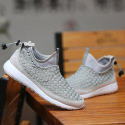 Suede Spliced Weaving Slip On Athletic Shoes