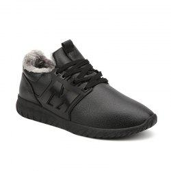 Fuzzy PU Leather Casual Shoes - BLACK