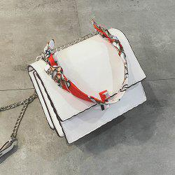 Chain Covered Closure Scarves Crossbody Bag -