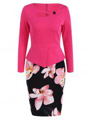 Plus Size Long Sleeve Peplum Floral Midi Pencil Dress - ROSE RED 5XL
