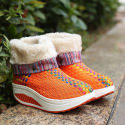 Colored Weaving Fuzzy Platform Boots -