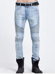 Slim Fit Zipper Fly Distressed Moto Jeans -