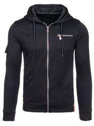 Zippered Pocket Drawstring Quilted Hoodie