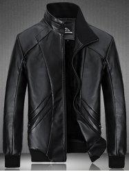 Spliced Design Flocking PU Leather Jacket - BLACK