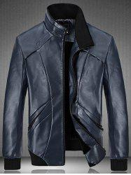 Spliced Design Flocking PU Leather Jacket