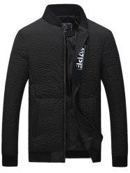 Stand Collar Applique Zip Up Quilted Jacket - BLACK 4XL