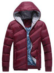 Oblique Spliced Design Zip Up Quilted Jacket