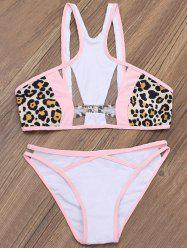 Leopard Mesh Panelled Sheer Bathing Suit