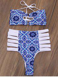 Printed Cutout Bandeau High Waisted Thong Bikini