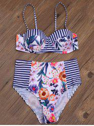 High Rise Underwire Floral Stripe Bikini