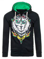 Cartoon Lion Print Drawstring Flocking Hoodie