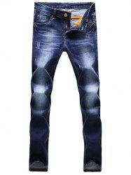 Zipper Fly Scratched Narrow Feet Jeans
