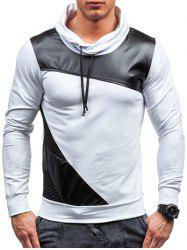PU Leather Spliced Design Color Block Pullover Sweatshirt