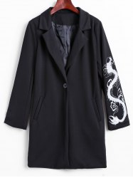 Lapel Collar Dragon Embroidered Cocoon Coat -