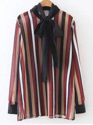 Bow Tie Colorful Striped Blouse